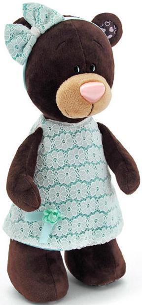 Мягкая игрушка медведь Orange Milk стоячая в платье цвета мяты текстиль коричневый 30 см М5044/30