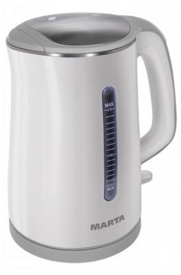 Чайник Marta MT-1065 1700 Вт белый серый 1.7 л металл/пластик набор столовых приборов marta mt 2701 twinkle