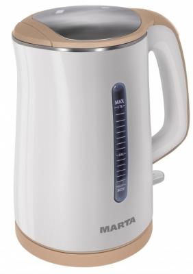 Чайник Marta Marta MT-1065 1700 Вт бежевый белый 1.7 л пластик набор столовых приборов marta mt 2701 twinkle