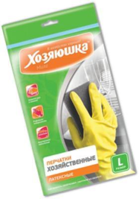 Перчатки хозяйственные латексные Хозяюшка Мила L 17003 перчатки хозяйственные оптима хозяюшка мила m 17023