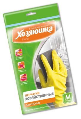 Перчатки хозяйственные латексные Хозяюшка Мила M 17002 перчатки хозяйственные оптима хозяюшка мила m 17023