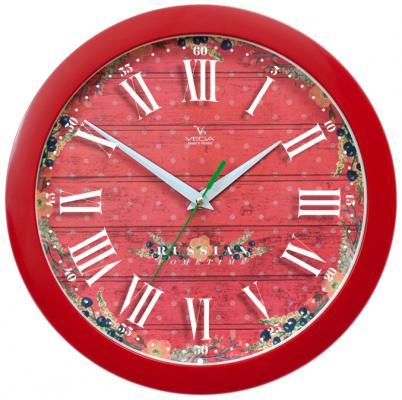 Часы настенные Вега Яркие краски П 1-1/7-286 красный