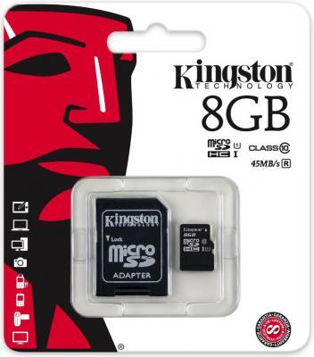 Карта памяти Micro SDHC 8GB Class 10 Kingston SDC10G2/8GBSP