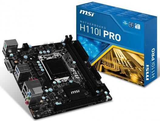 Мат. плата для ПК MSI H110I PRO Socket 1151 H110 2xDDR4 1xPCI-E 16x 4xSATAIII mini-ITX Retail