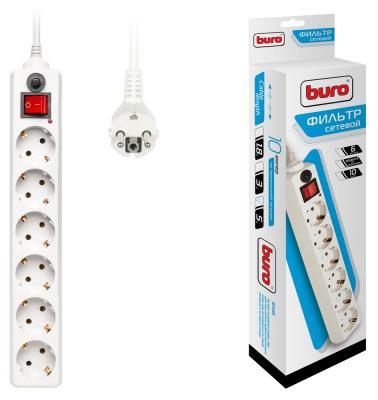 Сетевой фильтр BURO 600SH-5-W белый 6 розеток 5 м сетевой фильтр buro 600sh 5 b