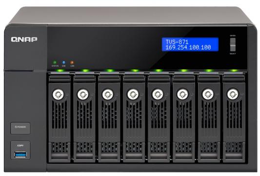 """Сетевое хранилище QNAP TVS-871-I3-4G Intel Core i3 8x2.5/3.5""""HDD RAID 0/1/5/6/10 4xGbLAN 5xUSB"""