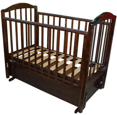 Кроватка с маятником Красная Звезда Руслан (шоколад/резьба №18)