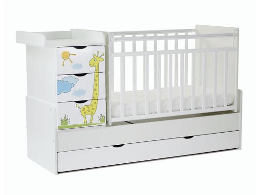 Кроватка-трансформер СКВ-5 4 ящика (белый/фотообои жираф/520031)