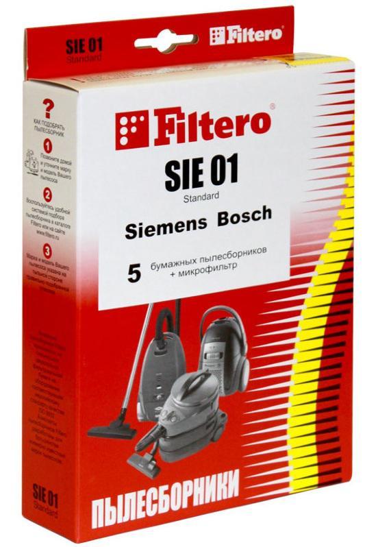 Пылесборники Filtero SIE 01 Standard двухслойные 5шт+фильтр пылесборники filtero dae 03 standard двухслойные 5шт