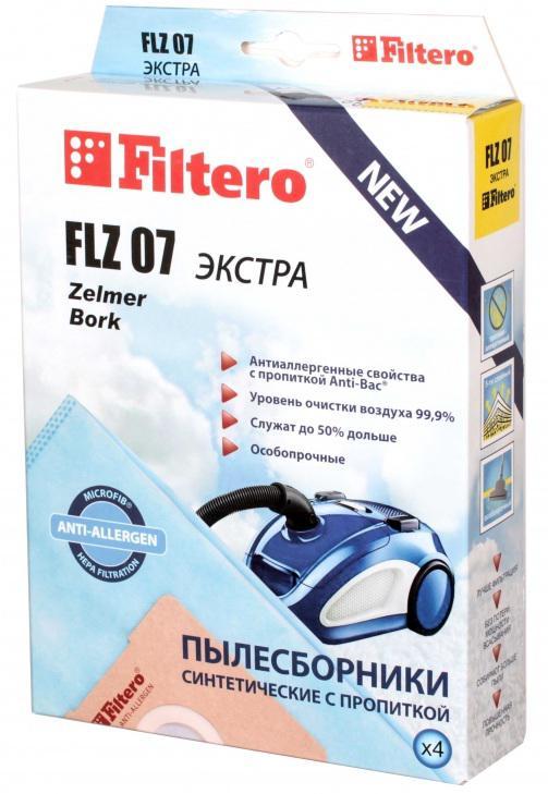Пылесборники Filtero FLZ 07 Экстра пятислойные 4шт пылесборники filtero flz 07 4 bork zelmer