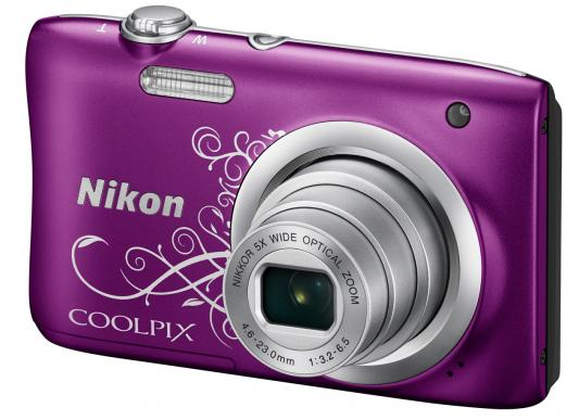 Фотоаппарат Nikon Coolpix A100 20Mp 5x Zoom фиолетовый с рисунком фотоаппарат nikon coolpix a100 silver 20 1mp 5x zoom sd usb 2 6