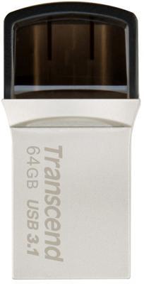 Флешка USB 64Gb Transcend Jetflash 890 TS64GJF890S серебристо-черный флешка transcend jetflash v85 16gb