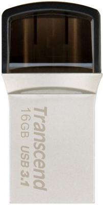 Флешка USB 16Gb Transcend JetFlash 890 TS16GJF890S серебристо-черный флешка usb 16gb transcend jetflash 750 usb3 0 ts16gjf750k черный