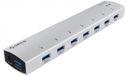 Концентратор USB 3.0 Orico AS7P-U3-SV 7 x USB 3.0 серебристый orico h727rk u3 7 port usb hub with usb 3 0 cable