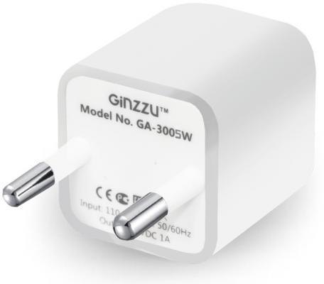 Сетевое зарядное устройство Ginzzu GA-3005W USB 1A белый