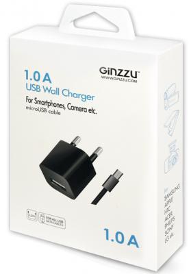 Сетевое зарядное устройство Ginzzu GA-3006B USB 1A черный