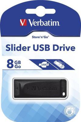 Флешка USB 8Gb Verbatim Store n Go Slider 98695 USB2.0 черный цена и фото