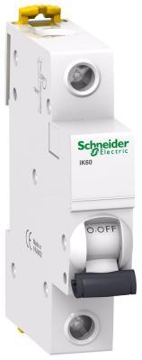 Автоматический выключатель Schneider Electric iK60 1П 50A C A9K24150 автоматический модульный выключатель acti9 ik60 1п c 25а 6ка schneider electric a9k24125