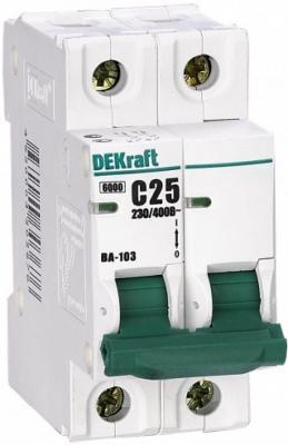 Автоматический выключатель DEKraft ВА-103 2П 25А C 6кА 12076DEK  автоматический выключатель dekraft ва 103 1п 20а c 6ка 12059dek