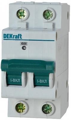 Автоматический выключатель DEKraft ВА-101 2П 6А B 4.5кА 11016DEK  автоматический выключатель dekraft ва 101 1п 10а b 4 5ка 11005dek