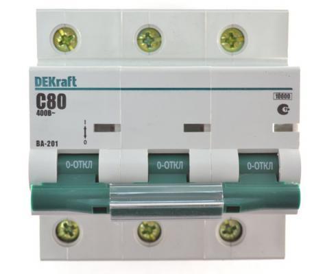 Автоматический выключатель DEKraft ВА-201 3П 100А С 10кА 13009DEK