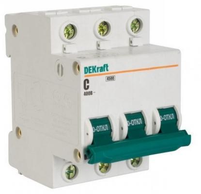 Автоматический выключатель DEKraft ВА-101 3П 32А C 4.5кА 11081DEK разрядник dekraft 18021dek
