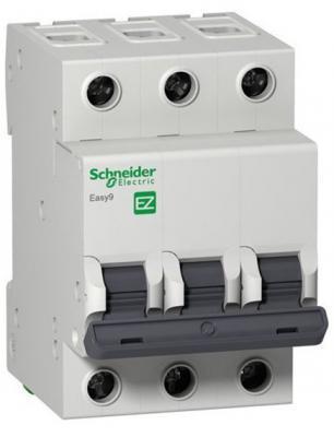 Автоматический выключатель Schneider Electric EASY 9 3П 63A C EZ9F34363 выключатель автоматический schneider electric easy 9 ez9f34310 10a тип c 4 5ka 3п 400в 3мод