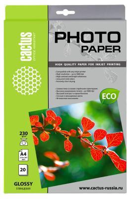 Бумага Cactus CS-GA423020E A4 230г/кв.м глянцевая 20л бумага цв а4 20л 10цв хобби тайм 2 вида