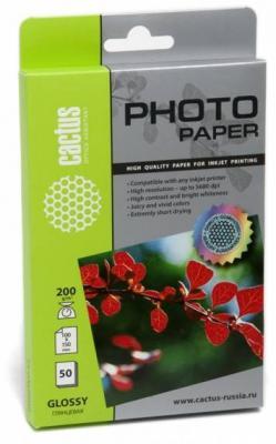 Бумага Cactus CS-GA620050E 10x15 200г/кв.м глянцевая 50л