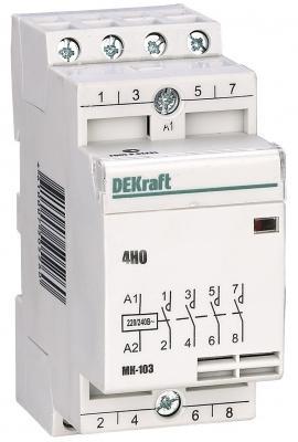 Модульный контактор DEKraft 4НО 63А 230В МК-103 18088DEK соединительная шина типа pin штырь 4p до 63а dekraft 32035dek 1113797