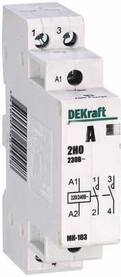 Модульный контактор DEKraft 2НО 20А 230В МК-103 18057DEK  навесной модульный пластиковый корпус 18мод ip41 щрн п 18 dekraft 31012dek 1113504