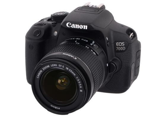 "Зеркальная фотокамера Canon EOS 700D черный 18Mpix EF-S 18-55mm f/3.5-5.6 DC III 3"" 1080p Full HD SD Li-ion"