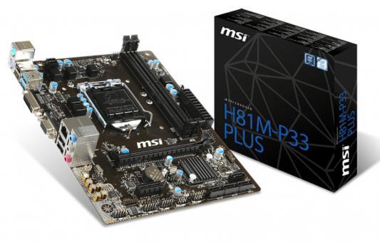 Мат. плата для ПК MSI H81M-P33 PLUS Socket 1150 H81 2xDDR3 1xPCI-E 16x 1xPCI-E 1x 2xSATA II 2xSATAIII mATX Retail