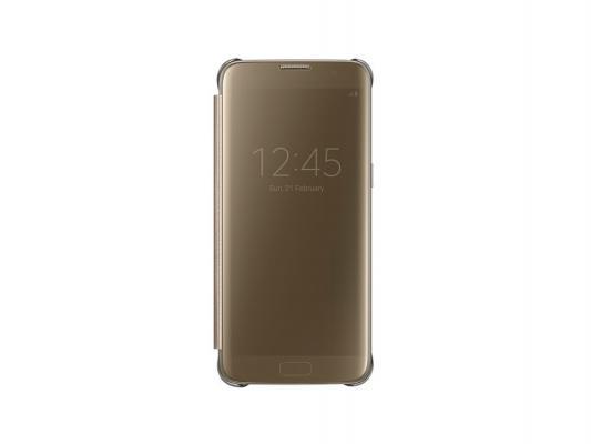 все цены на Чехол Samsung EF-ZG935CFEGRU для Samsung Galaxy S7 edge Clear View Cover золотистый онлайн