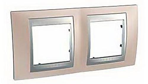 Рамка 2 пост оникс алюминий Schneider Electric MGU66.004.096