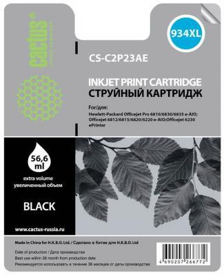 Картридж струйный Cactus CS-C2P23AE №934XL черный для HP DJ Pro 6230/6830 (30мл) картридж hp 934xl c2p23ae black