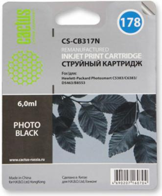 Картридж струйный Cactus CS-CB317N №178 фото черный для HP PS B8553/C5383/C6383/D5463/5510/5515/6510/6515 (6мл) cn642a for hp 178 364 564 564xl 4 colors printhead for hp 5510 5511 5512 5514 5515 b209a b210a c309a c310a 3070a b8550 d7560