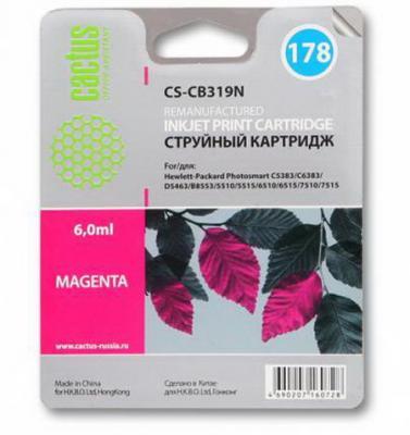 Картридж струйный Cactus CS-CB319N №178 пурпурный для HP PS B8553/C5383/C6383 (6мл)