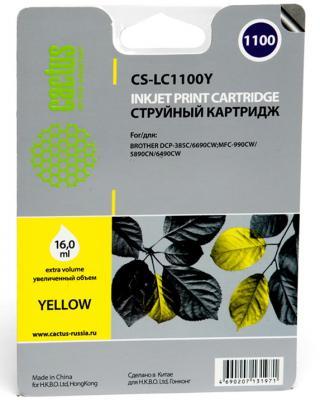 Картридж струйный Cactus CS-LC1100Y желтый для Brother DCP-385c/6690cw/MFC-990/5890/5895/6490 (16мл) brother lc1100y