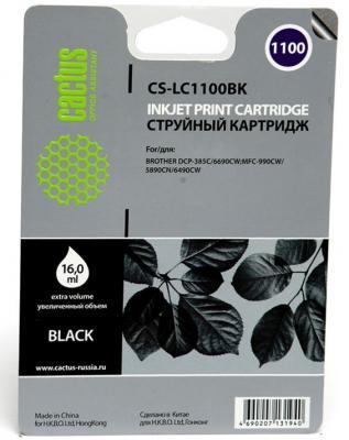 Картридж струйный Cactus CS-LC1100BK черный для Brother DCP-385c/6690cw/MFC-990/5890/5895/6490 (16мл)
