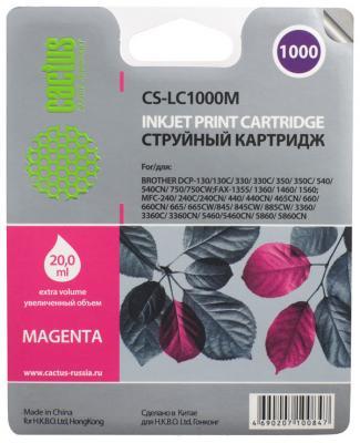 Картридж струйный Cactus CS-LC1000M пурпурный для Brother DCP 130C/330С/MFC-240C/5460CN (20мл)
