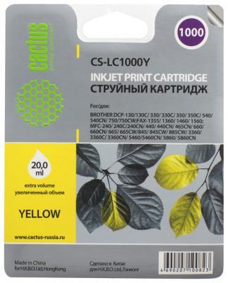 Картридж струйный Cactus CS-LC1000Y желтый для Brother DCP 130C/330С/MFC-240C/5460CN (20мл)