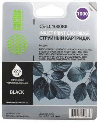Картридж струйный Cactus CS-LC1000BK черный для Brother DCP 130C/330С/MFC-240C/5460CN (22.6мл)