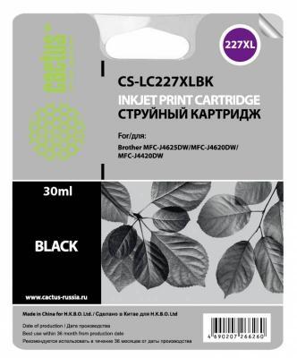 Картридж струйный Cactus CS-LC227XLBK черный для Brother DCP-J4120DW/MFC-J4420DW/J4620DW (1200стр.) refillable color ink jet cartridge for brother printers dcp j125 mfc j265w 100ml