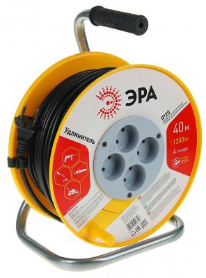 Удлинитель Эра RP-4-2x0.75-40m оранжевый белый черный 4 розетки 40 м удлинитель эра силовой с заземлением 4 розетки rm 4 3x1 40m 40 м