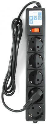Сетевой фильтр Power Cube SPG-B-6 черный 5 розеток 1.9 м сетевой фильтр power cube sisn black 10 garant 6 розеток 3 м черный