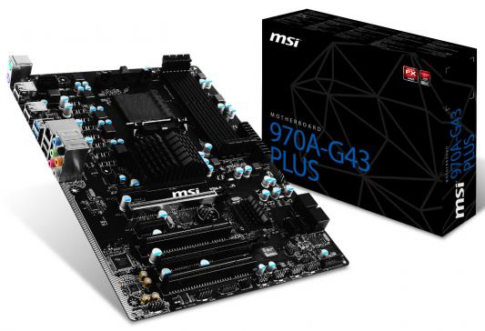 Мат. плата для ПК MSI 970A-G43 PLUS Socket AM3+ AMD 970 4xDDR3 2xPCI-E 16x 2xPCI 2xPCI-E 1x 6xSATAIII ATX Retail