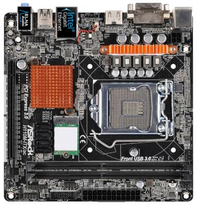 Мат. плата для ПК ASRock H110M-ITX/AC Socket 1151 H110 2xDDR4 1xPCI-E 16x 4xSATAIII mini-ITX Retail процессор intel core i3 4170 lga 1150 box