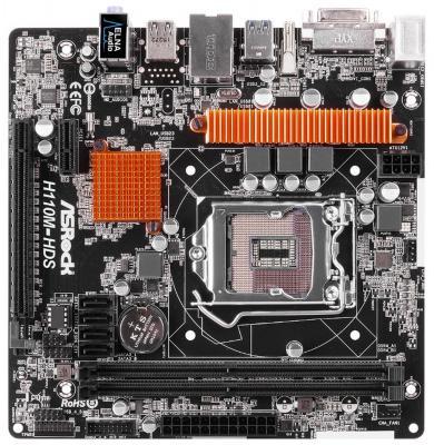 Мат. плата для ПК ASRock H110M-HDS Socket 1151 H110 2xDDR4 1xPCI-E 16x 1xPCI-E 1x 4xSATAIII mATX Retail