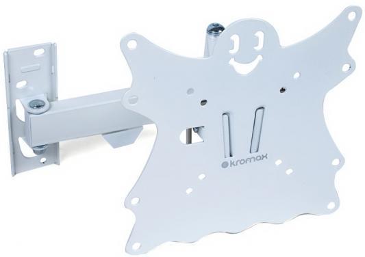 Кронштейн Kromax CASPER-204 белый LED/LCD 20-43 5 степеней свободы наклон +5°-15° поворот 180° 57-410 мм от стены VESA 200x200 max 30 кг кронштейн kromax casper 101 для led lcd 10 26 vesa 100x100 мм 1 ст свободы max 15 кг черный
